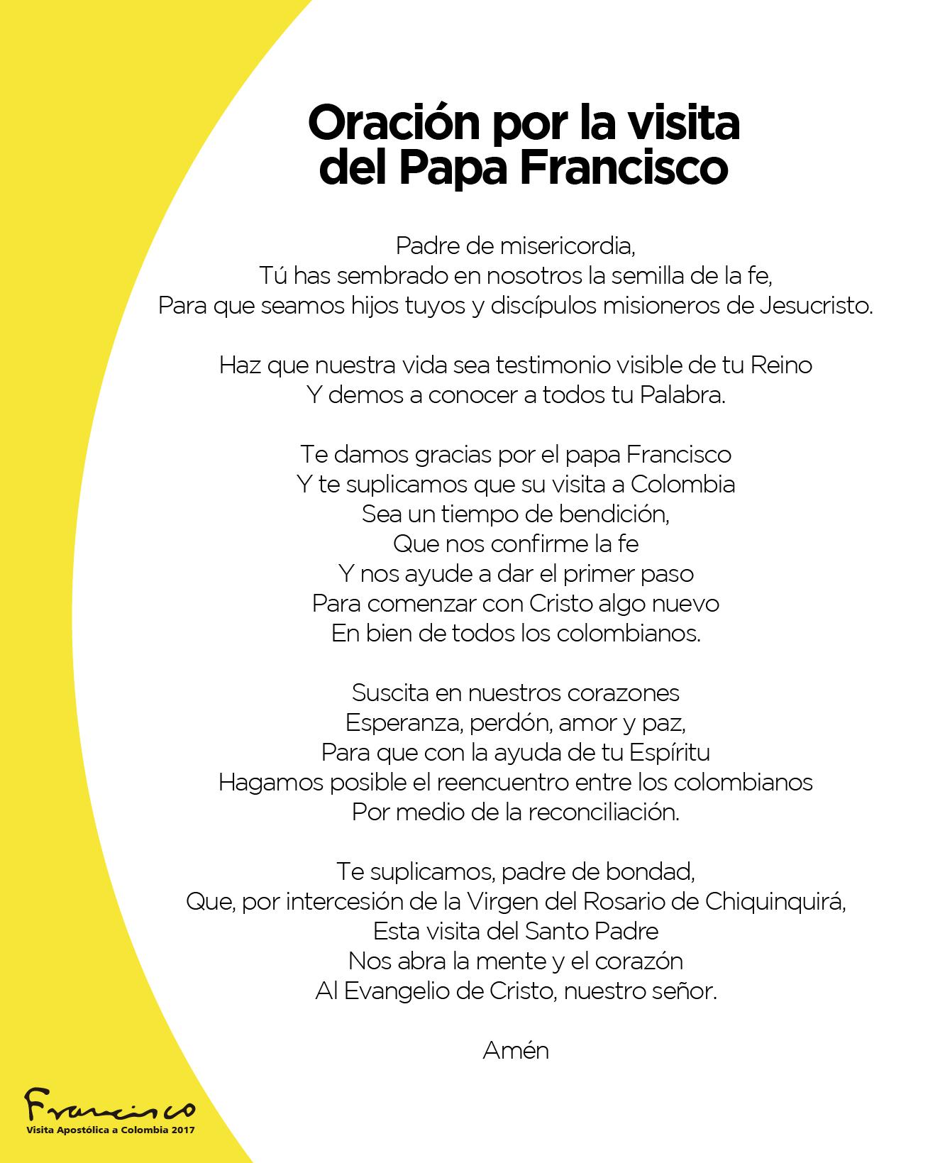 Oración oficial del papa francisco